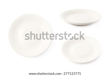 Small white glazed ceramic plate isolated over the white background, set of three different foreshortenings - stock photo