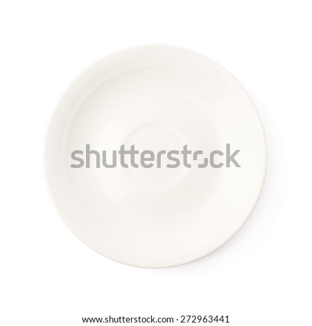 Small white glazed ceramic plate isolated over the white background, top view above foreshortening - stock photo