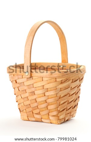 Small wicker basket isolated on white background.. - stock photo