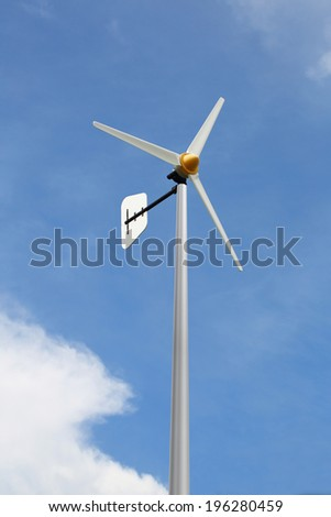 Small wind turbine, renewable energy source of future.