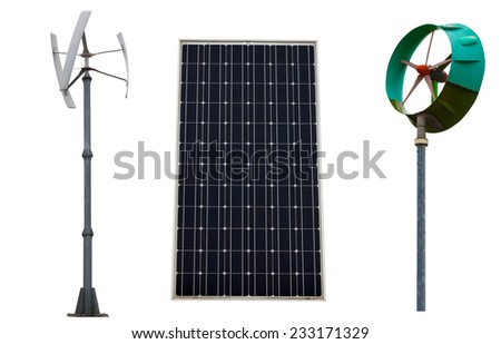 Small wind turbines and solar panel. Isolated on white background. - stock photo