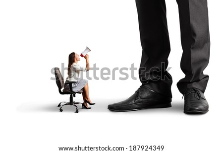 small woman screaming at big boss. isolated on white background - stock photo