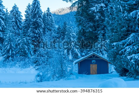 small wood house in the snow.Whistler BC Canada