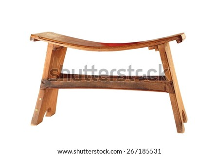 small  wood seat isolated over white background - stock photo