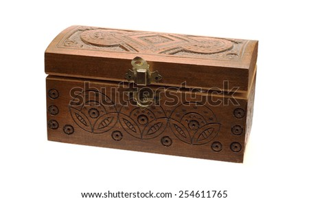 small wooden box on white background