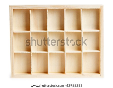 Small wooden box with cells isolated on a white background - stock photo