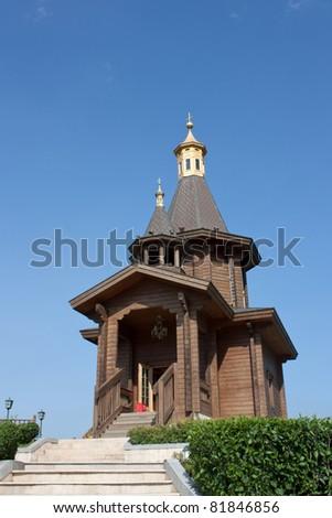 Small wooden church - stock photo