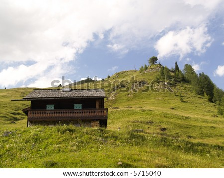 Small wooden cottage in mountains. Summer time