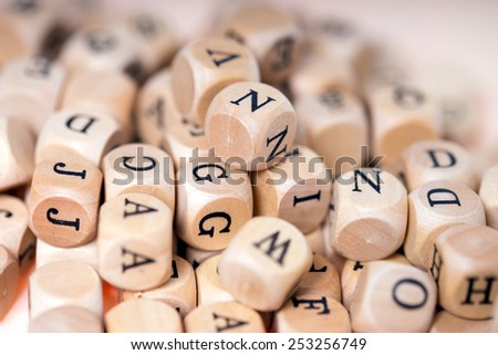 small wooden cubes with letters / wooden cubes - stock photo