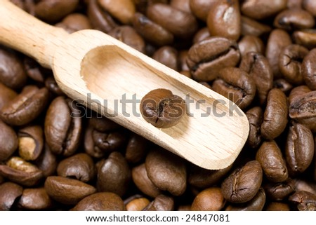 Small wooden scoop with a coffee bean (on coffee beans as a background) - stock photo