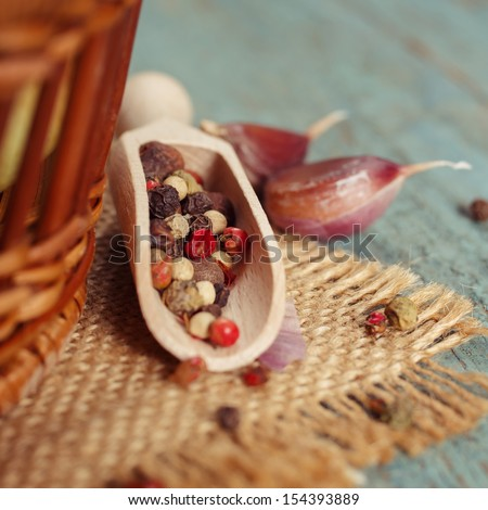 Small wooden scoop with hot pepper - stock photo