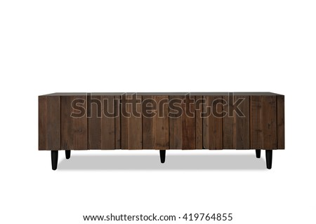 Small wooden Television table isolated on a white background front view, dark brown - stock photo