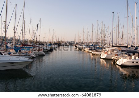 small yachts in a Larnaka harbor - stock photo