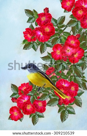 small yellow bird sitting on a branch of flowers with red roses - stock photo