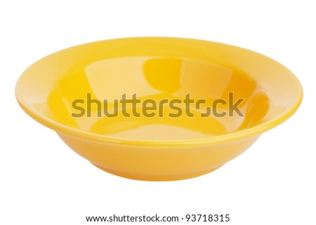 Small yellow ceramic bowl on a white background - stock photo