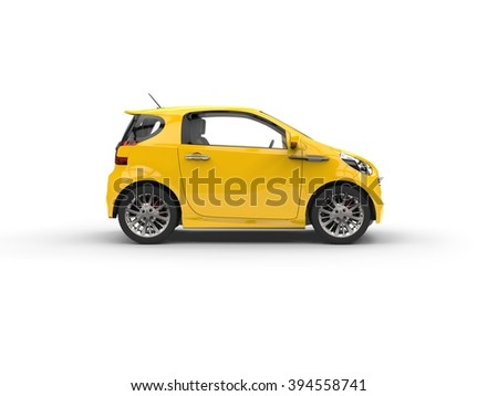 Small Yellow Compact Car - stock photo