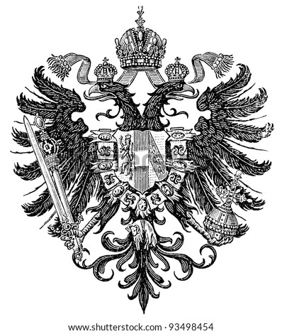 "Smaller coat of arms of the Empire of Austria form Congress of Vienna 1815-1867 (Austro-Hungarian Monarchy). Publication of the book ""Meyers Konversations-Lexikon"", Volume 7, Leipzig, Germany, 1910 - stock photo"