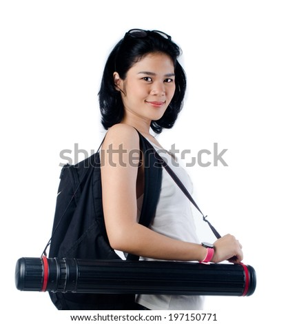 Smart and beauty college girl with blueprint tube carrier