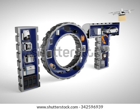 Smart appliance in word IoT. Internet of Things in industrial products concept. - stock photo