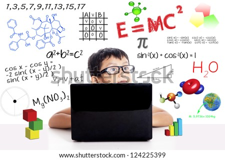 Smart asian boy with laptop wearing a sunglasses