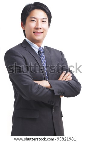 Smart asian business man isolated on white background - stock photo