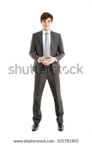 smart asian Businessman standing on white background - stock photo