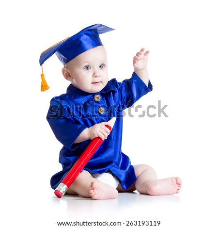 Smart baby with big pencil in academician clothes - stock photo