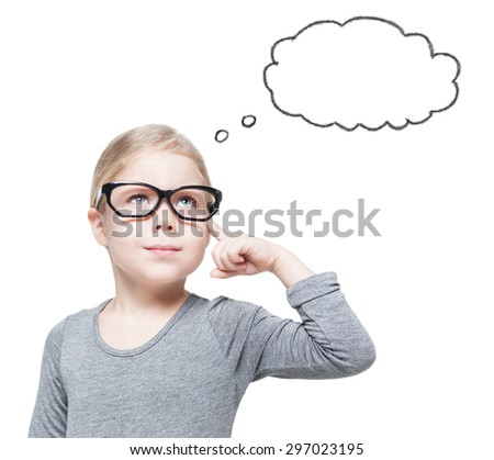 Smart beautiful little girl in glasses thinking about something isolated