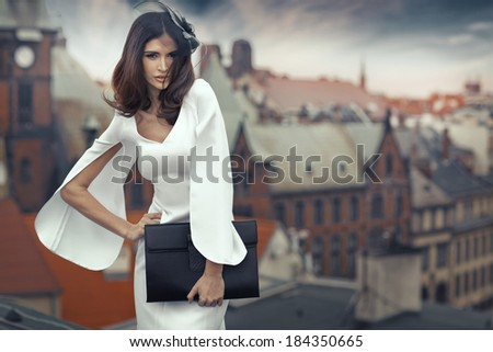 Smart brunette woman with the panorama city in the background - stock photo