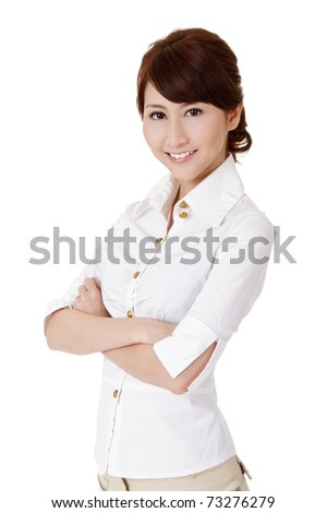 Smart business woman, closeup portrait on white background. - stock photo