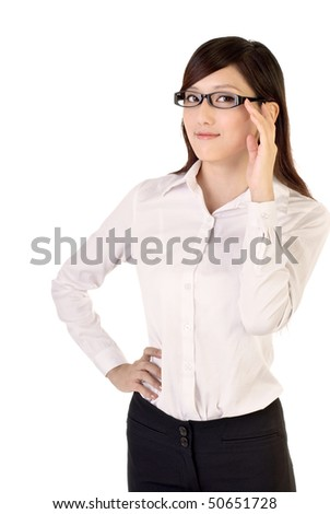 Smart business woman portrait with glass on white background.