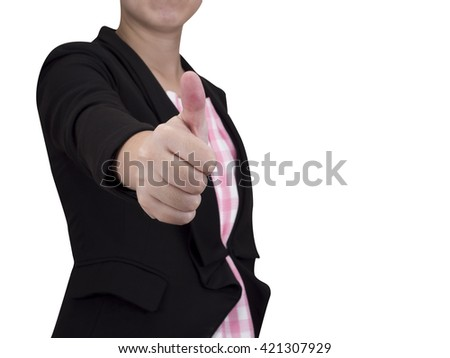 Smart business woman wear black suit show thumb up sign with like, good or excellent sign stand on isolated / white background with clipping path (Business concept) - stock photo