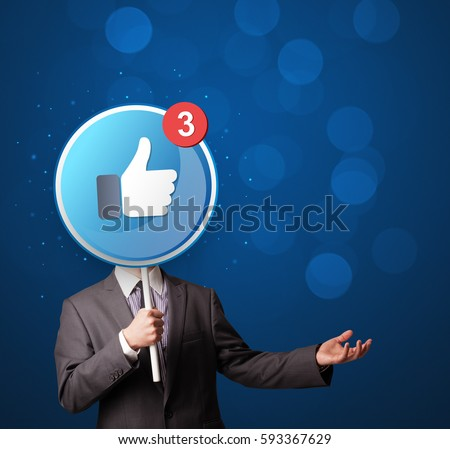 Smart businessman holding round sign with facebook like