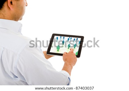 Smart businessman using electronic tablet on white background - stock photo