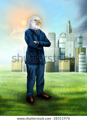 Smart businessman with an eagle head. Digital illustration. - stock photo