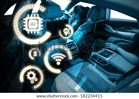 smart car and internet of things iot concept technology icons and hightech vehical
