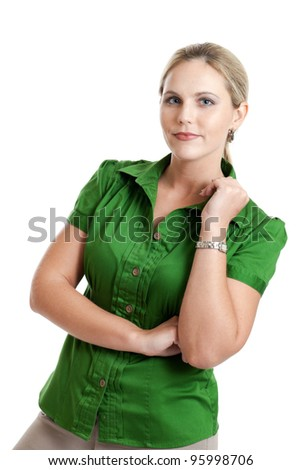 Smart casual woman portrait isolated on a white background - stock photo