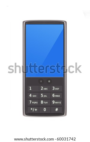 Smart cell phone with keypad  isolated on white (original design)