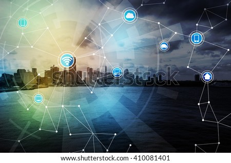 smart city and wireless communication network, IoT(Internet of Things), ICT(Information Communication Technology), abstract image visual - stock photo