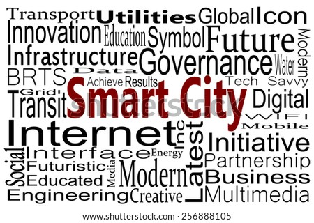 Smart City word cloud - stock photo