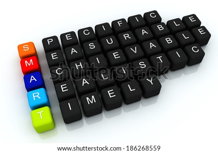 SMART colorful box Crossword 3D render - stock photo