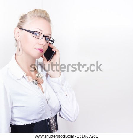 Smart Confident Business Girl Liaising With Clientele On Mobile Phone During A Conference Copyspace Call