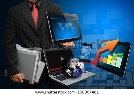 Smart digital device and data report : Elements of this image furnished by NASA - stock photo