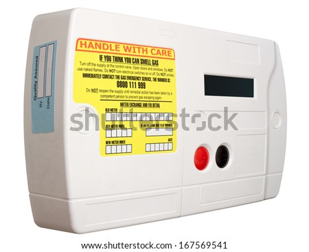 Smart domestic gas meter isolated on white with clipping path - stock photo
