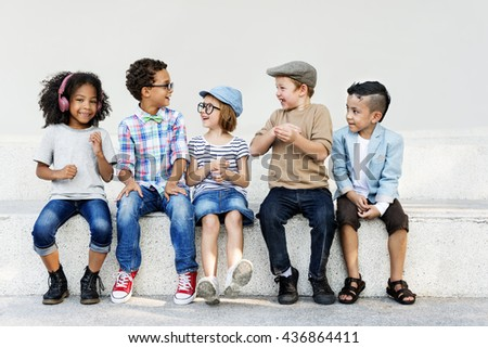 Smart Fashionable Cheerful Children Concept - stock photo