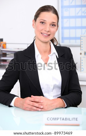 Smart female accountant sitting at her desk - stock photo