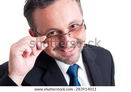 Smart, friendly and intelligent teacher, business man, banker or financial broker - stock photo