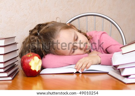Smart girl reading a book and sleep