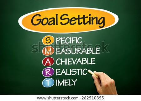 SMART Goal Setting, business concept on blackboard - stock photo