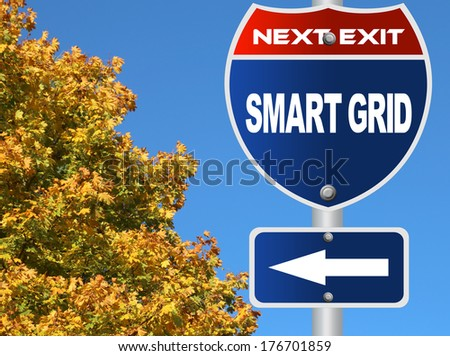 Smart grid road sign - stock photo